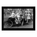 Bathing Beauties on a Car 1919 Card