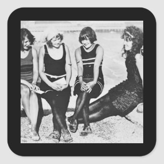 Bathing Beauties on a Pier Square Sticker