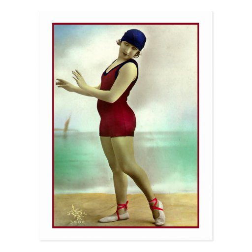 Bathing Beauty in deep cranberry bathing suit Post Cards
