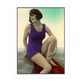 Bathing Beauty in deep purple bathing suit Postcard