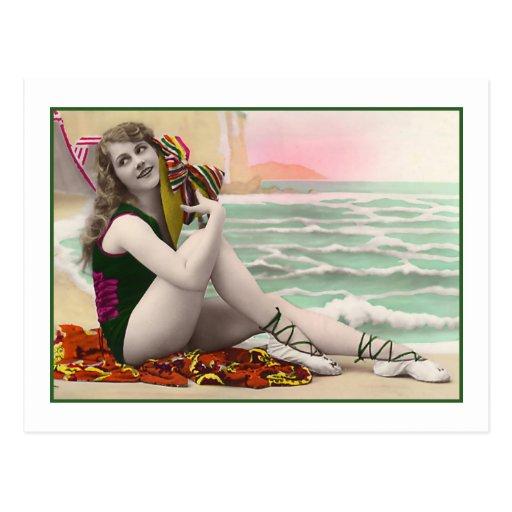 Bathing Beauty in green bathing suit Post Cards