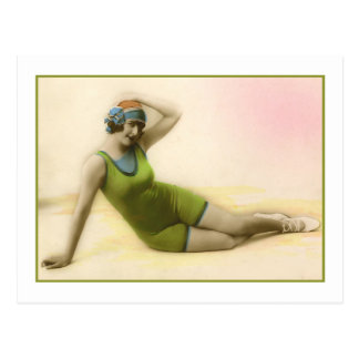 Bathing Beauty in kiwi green bathing suit Postcard
