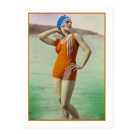 Bathing Beauty in orange bathing suit Post Cards