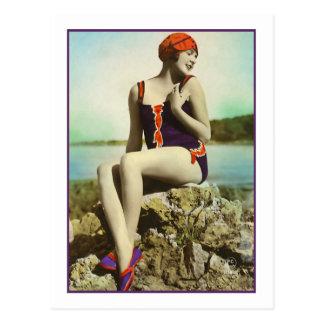 Bathing Beauty in purple and orange bathing suit Postcard
