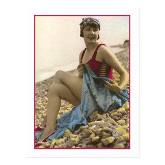 Bathing Beauty in raspberry bathing suit Post Cards