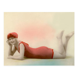 Bathing Beauty in Rose Red Post Card