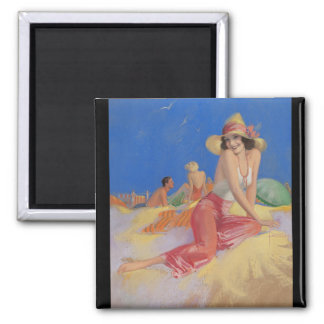 Bathing Beauty in Sun Hat Pin Up Art 2 Inch Square Magnet