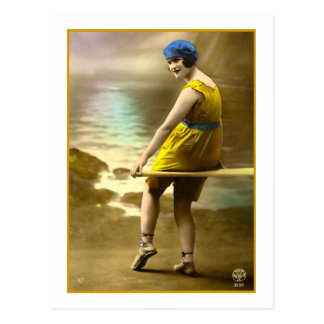 Bathing Beauty in yellow and blue Postcard