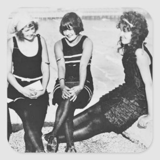 Bathing Beauty Pals on Pier Square Sticker