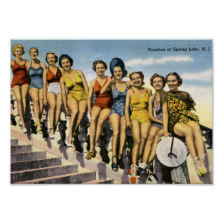 Bathing Beauty Peaches, Spring Lake Vintage Poster