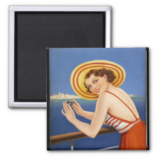 Bathing Beauty Pin Up Art 2 Inch Square Magnet
