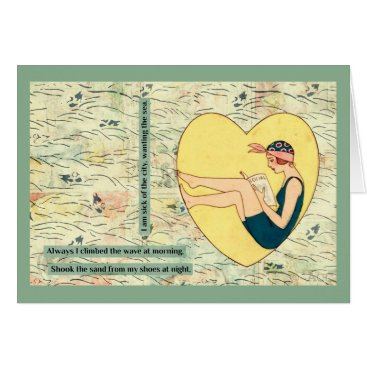 Beach Themed Bathing Beauty Reading At Beach Card