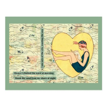 Beach Themed Bathing Beauty Reading At Beach Postcard