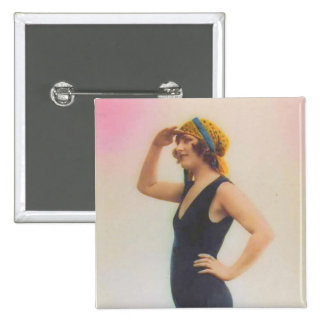 Bathing Beauty Vintage Look Magnet Square Shaped Pinback Button