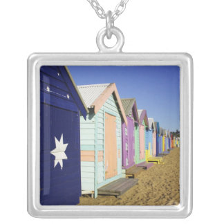 Bathing Boxes, Middle Brighton Beach, Port Silver Plated Necklace