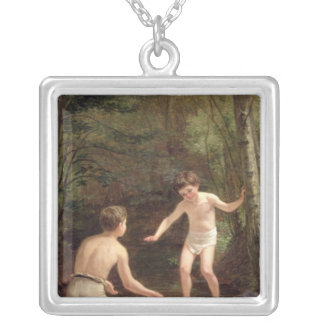 Bathing Boys, 1873 Silver Plated Necklace