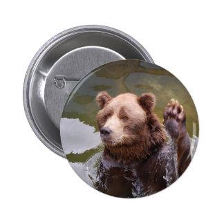 Bathing Brown Bear  Button