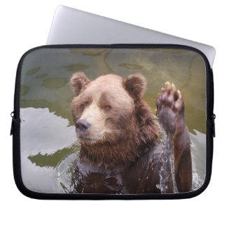 Bathing Brown Bear Laptop Sleeve