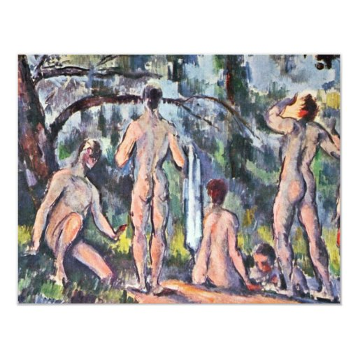Bathing By Paul Cézanne (Best Quality) 4.25x5.5 Paper Invitation Card