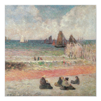 Bathing Dieppe by Gauguin, Vintage Impressionism 5.25x5.25 Square Paper Invitation Card