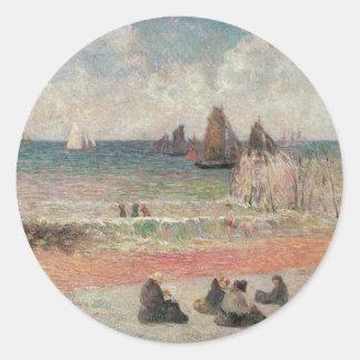 Bathing Dieppe by Gauguin, Vintage Impressionism Classic Round Sticker