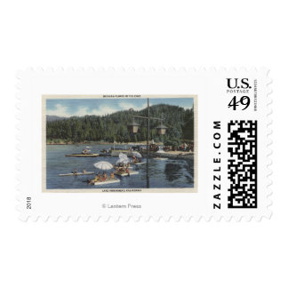 Bathing Floats, Swimmers in Cove Postage