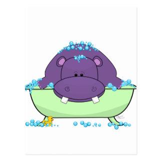 Bathing Purple Hippo Postcard