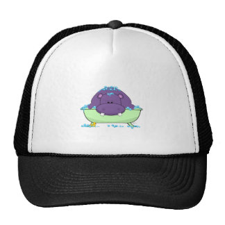 Bathing Purple Hippo Trucker Hat