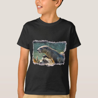 Bathing River Otter Wildlife Art T-Shirt
