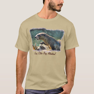 Bathing River Otter Wildlife Art T-Shirt