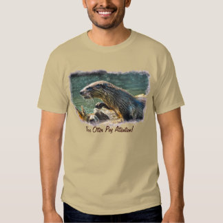 Bathing River Otter Wildlife Art T-shirts
