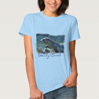 Bathing River Otter Wildlife Art Tee Shirt