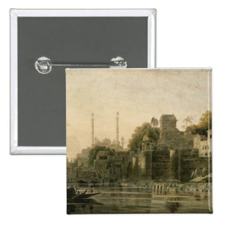Bathing Scene at the Ghat on the Ganges Pinback Button