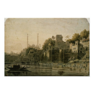Bathing Scene at the Ghat on the Ganges Poster