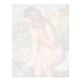 Bathing Seated On A Rock By Pierre-Auguste Renoir Letterhead Template