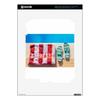 Bathing slippers and bath towel at swimming pool decal for iPad 3