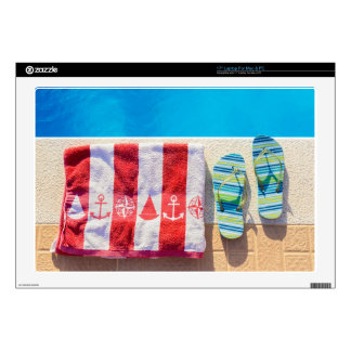 """Bathing slippers and bath towel at swimming pool skin for 17"""" laptop"""