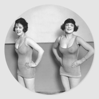 Bathing Suit Models Classic Round Sticker