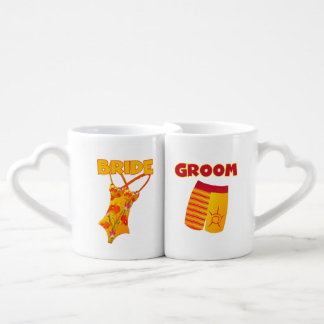 Bathing Suits Bride and Groom Lovers Mugs