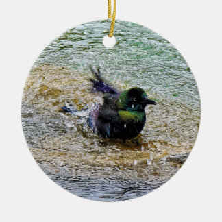 Bathing Time for the Starling Ceramic Ornament