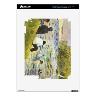 Bathing with a white horse in the river by Seurat iPad 3 Skins