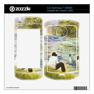 Bathing with a white horse in the river by Seurat Skin For The LG Optimus 7