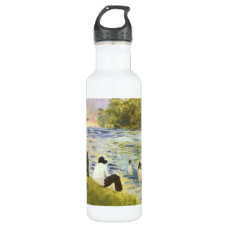Bathing with a white horse in the river by Seurat Stainless Steel Water Bottle