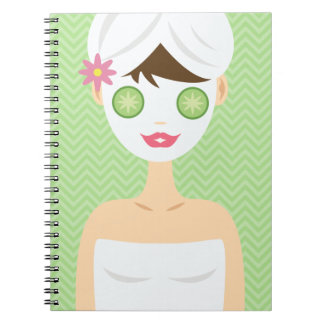 Bathing Woman With A White Face Mask Spiral Notebook