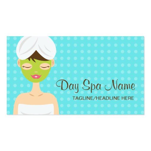 Bathing Woman With Green Face Mask Day Spa Business Card
