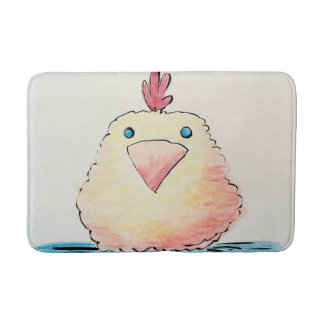 Bathmat, Baby Chick Watercolor Bathroom Mat
