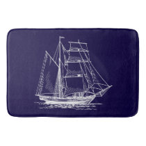 Bathmat   Blue sail boat ship nautical sailboat