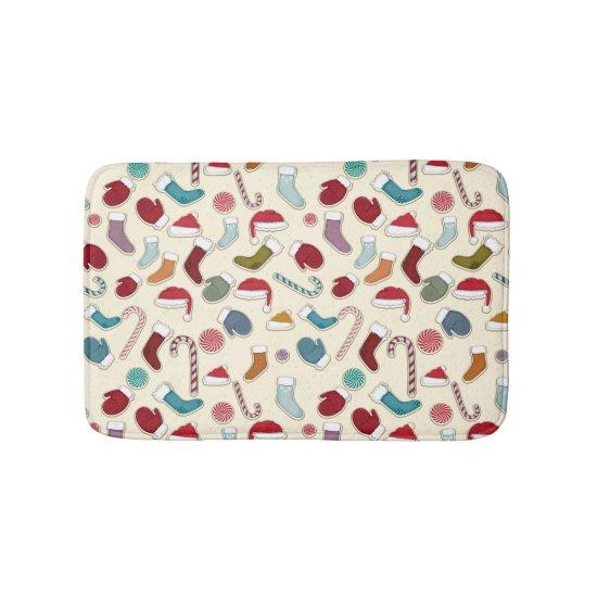 Bathmat - Candy Canes, Santa Hats & Mittens