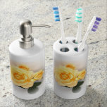 Bathroom Accessories - Lovely Yellow Roses Soap Dispenser And Toothbrush Holder