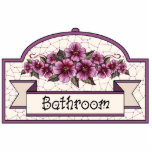 """&quot;Bathroom&quot; - Decorative Sign - 45 Cutout<br><div class=""""desc"""">Ruby roses on cream: This item is part of a large collection of mix &amp; match gifts all with the same basic design elements.. The original design was hand painted and features ruby roses on a cream background, maroon and cream checks and stripes, and some cream coloured lace on a...</div>"""